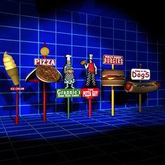 3D Food Sign 01 Model - 3D Model