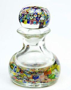 Murano Millefiori Perfume Bottle - Venetian Art Glass-