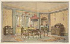 Eetkamer met gele wanden en rode lamp, Monogrammist HK (Nederland, 20ste eeuw), c. 1925