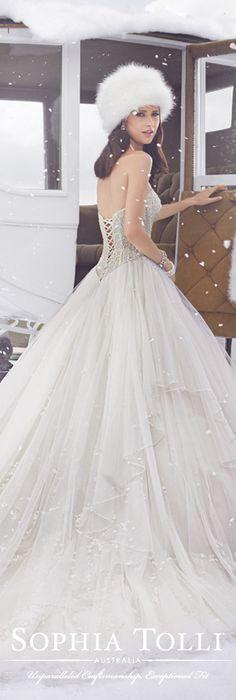 The Sophia Tolli Fall 2015 Wedding Dress Collection - Style No. Y21506 sophiatolli.com #weddingdresses #weddinggowns