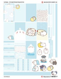 """Blue Molang"" - Free Planner Printable for Classic Happy Planner by Organized Potato To Do Planner, Free Planner, Planner Pages, Happy Planner, 2015 Planner, Blog Planner, Kawaii Planner, Bullet Journal, Journal Stickers"