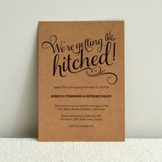 We're Getting Hitched Script - Cheeky DIY Kraft Paper Wedding Invitation Template