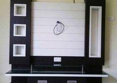 Woodwokingidea lcd 000113 unit With Mandir Modern Tv Cabinet, Tv Cabinet Design, Modern Tv Wall Units, Tv Unit Interior Design, Tv Unit Furniture Design, Kitchen Furniture, Lcd Wall Design, Lcd Units, Tv Unit Decor
