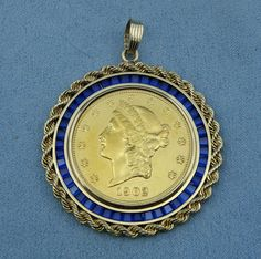Penny Size Simulated Rope Style Gold Filled Coin Necklace Bezel//Pendant