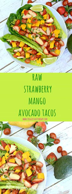 Raw Strawberry Mango Avocado Tacos (vegan, gluten free, healthy)