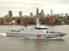 French Coastguard vessel 'Cormoran' leaving London this morning.