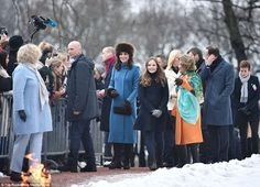 Warm welcome: Huge crowds came out to catch a glimpse of the royals, who handed bunches of... #katemiddleton #royals