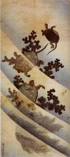 • Katsushika Hokusai - Tartarughe nella corrente, della serie Grandi immagini della natura (1832-1833). Palazzo Reale, Milano.