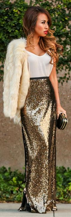 Gold Sequin Maxi Skirt Outfit