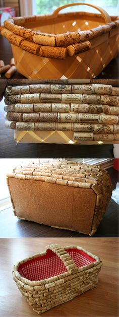 Simple DIY Wine Cork Basket | Easy Wine Cork Project by DIY Ready at http://diyready.com/more-wine-cork-crafts-ideas/
