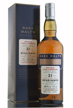 Benrinnes 1974, 21 Year Old, The Rare Malts Selection Benrinnes 21 year old bottled for The Rare Malts Selection series. This limited edition single malt whisky from the Speyside region was distilled in 1974 and bottled in 1996 at a cask strength of 60.4% vol. The Rare Malts are remarkable cask-strength single malt whiskies drawn from among the rarest, most precious stocks to survive in Scotland. http://www.abbeywhisky.com/benrinnes-1974-21-year-old-rare-malts.html