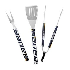"""Jason HOCKEY STICK BBQ SET Item ID24131 Made from Stainless Steel, Reclaimed Hockey Sticks MeasurementsSee below for measurements. NotesHand wash  Spatula: 19"""" L x 4"""" W Tong: 15.5"""" L Fork: 17.5"""" L x 1.5"""" W $60"""