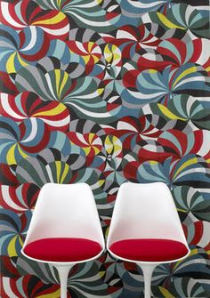 Marimekko' s bold colors make a great backdrop yo this classic chair design.