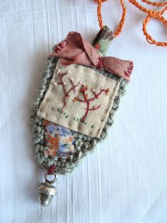 Embroidered tree crochet liberty fabric necklace by giovabrusa