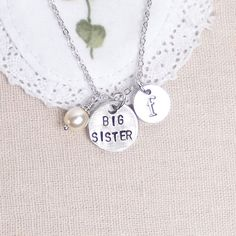 initial necklace Big Sister necklace Swarovski by vespestudio