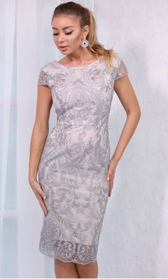Rochie Alessia midi argintie cu dantela aplicata Pune, Formal Dresses, My Style, Girls, Fashion, Dresses For Formal, Toddler Girls, Moda, Formal Gowns