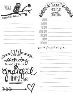 Free Daily Lists Printables