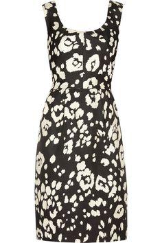 Oscar de la Renta for THE OUTNET Tulip-jacquard black and white silk dress