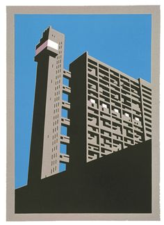 Paul Catherall Trellick Tower linocut print - Retro to Go Linocut Prints, Art Prints, Architecture Graphics, Minimalist Architecture, A Level Art, Urban Art, Wood Print, Printmaking, Screen Printing