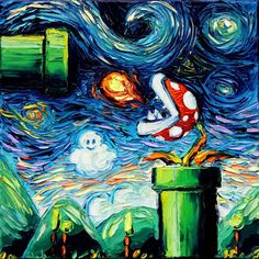 Nintendo Super Mario Art Video Game Art by SagittariusGallery art Starry Night Piranha Plant Art CANVAS print man cave cool van Gogh Never Leveled Up Aja choose Super Mario Kunst, Super Mario Art, Pintura Online, Deco Gamer, Gaming Wall Art, Plant Art, Video Game Art, Set Video, Video Games