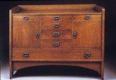 Frederick Hurten Rhead Signature | Gustav Stickley, Oak Sideboard , c.1902-3