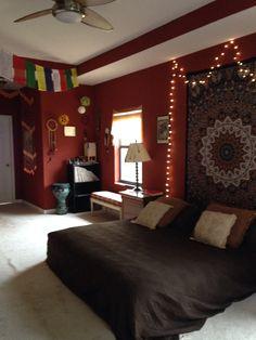 My Boho Hippy Bedroom: records, drum, beaded curtain, dreamcatchers...