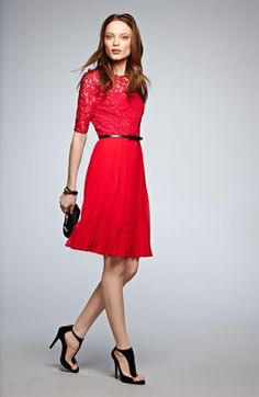 Lace fit and flare dress $158