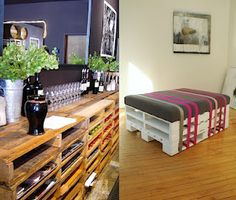 Pallet Seating and Pallet Buffet Dyi Pallet Projects, Diy Pallet Furniture, Home Projects, Pallet Ideas, Pallet Seating, Pallet Wine, Industrial Home Design, Pallet Creations, Cricut Creations
