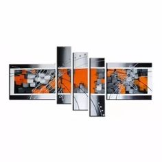pinturas cuadros colores naranja escala de grises para sala