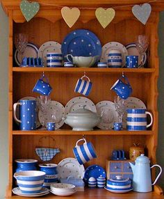 Cornishware Collection (close up) love the domino added in and the gingham! Blue And White China, Blue China, Kitchenware, Kitchen Canisters, Tableware, Cornishware, Welsh Dresser, Blue Onion, Willow Pattern
