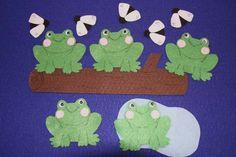5 Speckled Frogs Children Story Flannel board Felt set