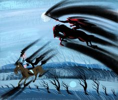 Headless Horseman and Ichabod concept art by Mary Blair