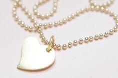 Ketten kurz - Kette Unikat 925er Silber vergoldet Herz - ein Designerstück von sgiese bei DaWanda