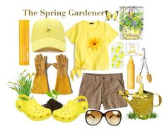 The Spring Gardener by prettyyourworld on Polyvore featuring J.Crew, Patagonia, Crocs, Links of London, Bottega Veneta, Happy Plugs, Skinnydip, Forever 21, Clinique and Mary Kay