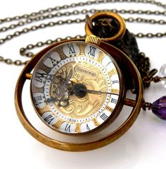 OWLandHOURGLASS › Pocket/Watch Necklaces - Time Turner - Steampunk Orb Watch Necklace