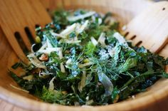 Who doesn't like kale nowadays? My favorite preparation of this ever-popular leafy green is raw in a salad. This is my go-to salad recipe for kale and has a wonderful combination of different flavors and textures-- the pairing of fennel and green apple go so perfectly with the hearty kale. You
