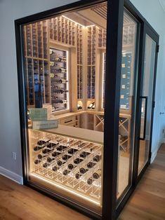 Wine Cellar Modern, Glass Wine Cellar, Home Wine Cellars, Wine Cellar Design, Custom Home Bars, Bars For Home, Whiskey Room, Modern Home Bar, Wine Barrel Furniture