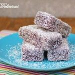 CHOCOLATE LAMINGTONS - We've been asked to make these so many times that we felt like we couldn't ignore it anymore. A square of delicious vanilla sponge dipped in a rich chocolate icing and then coated in desiccated coconut. Fun Baking Recipes, Baking Tins, Dessert Recipes, Tart Recipes, Traditional Australian Food, Lamingtons Recipe, Czech Desserts, Coconut Icing, Milk Tart