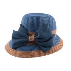 Chapeau paille Vésuve en mottled bleu et naturel #mode #ete #femme #fashion #chic sur Hatshowroom.com votre boutique Headwear.