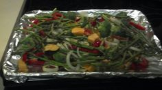 My Veggie Bake  Bake 400 20 min  2 bunches of Asparagus   1 Yellow and Green Zucchini  1 whole Leek  1 container Cherry Tomatoes   1 Bunch of Broccoli   Coat foil with Coconut Oil use Braggs Amino Spray 2 sprays.  Use fresh herbs..