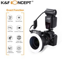 K&F CONCEPT 150-C Macro Ring Light TTL Auto Manual Flash GN14 LCD Display for Canon DSLR Camera + 6pcs Adapter Ring +Mini Stand #Affiliate