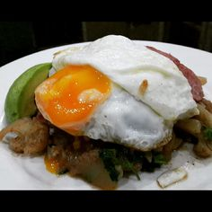 Sausage and Cauliflower Hash, with a Fried Egg and fresh avocado on the side - Paleo Perfection...