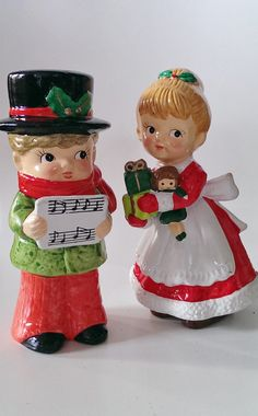 Unique Vintage PARMA Christmas Carolers Boy and Girl Set Of Two Figurines