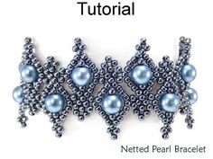 "Netted Pearl Bracelet Download Beading Tutorial #25803 This elegant, lacy ""Netted Pearl Bracelet"" is a unique, and somewhat challenging variation of a netted stitch – stunning by itself or as the perfect accompaniment to the other designs in our ""Netted Pearl"" collection (earrings"