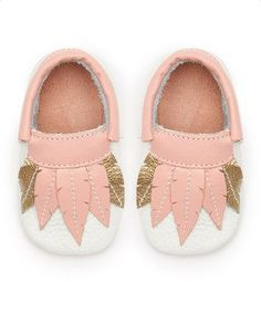 Pink & White Feather Leather Moccasins
