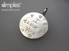 Dimples Love Note charm personalized with handwriting!