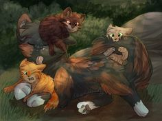 Tawnypelt being a patient mom.  Left to Right : Flamekit(tail), Tawnypelt, Tigerkit(heart) and Dawnkit(pelt).