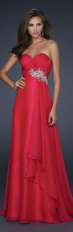 Fashion Natural Chiffon Strapless Red Prom Dresses motodresses584125fdesg #reddress #promdress
