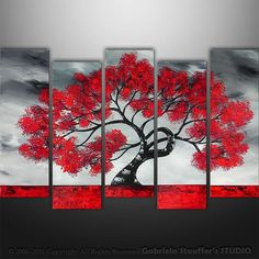 CUSTOM PAINTING  Abstract Modern Landscape Tree Asian Painting Art by Gabriela 50x30 black white red LARGE Textured Abstract Painting