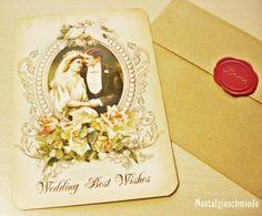 Nostalgieschmiede - Glückwunschkarte zur Hochzeit im Vintage-Stil  www.nostalgieschmiede.de